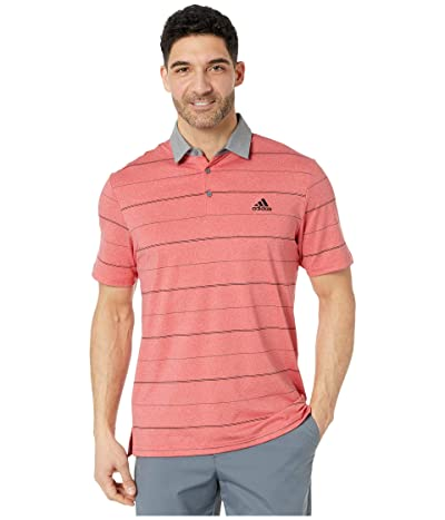 adidas Golf Ultimate365 Heathered Stripe Polo Shirt (Real Coral Melange/Grey Three/Black) Men