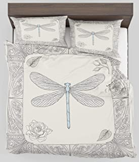 ZELXXXDA Decor Bedding Set Dragonfly Hand Drawn Royal Ancient Style Rose Petals Leaves and Ornate Figures Design Full/Queen Size Duvet Cover with 2 Matching Pillow sham