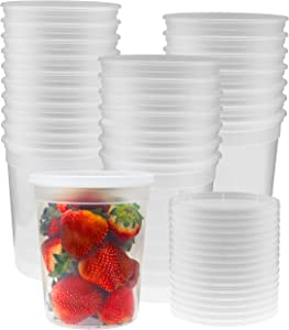 Green Direct 32 oz. Food Storage Containers with Lids - Reusable Microwave and Freezer Safe Lunch Container Pack of 24