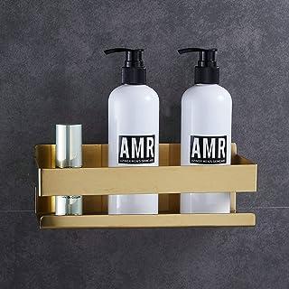 Étagère de douche auto-adhésive pour salle de bain, doré brossé, sans perçage
