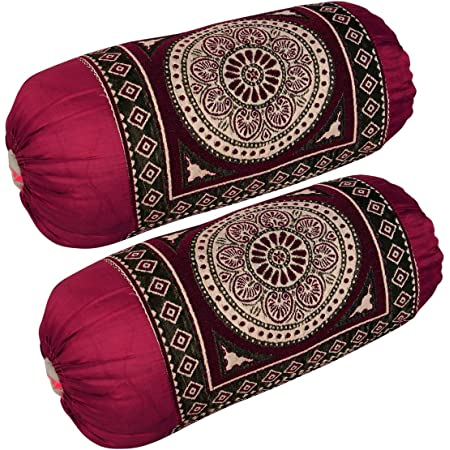 Hsr Collection Chenille/Velvet Luxury Bolsters Covers,32 X 16 Inches, Maroon - Set Of 2