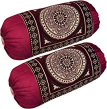 Rj Products Chenille Velvet Luxury Bolsters Cover (16 X 32) - Pack of 2 (Maroon_Circle)