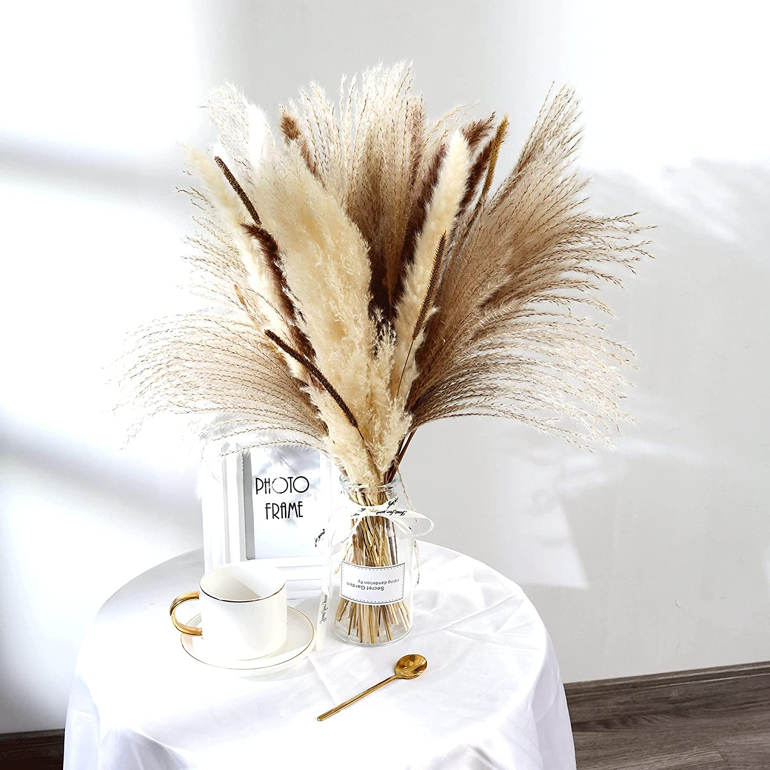 65 Pcs Pampas Grass, Natural Dried Pampas Grass Decor, Dried Plants Flower Bouquet for Pampas Grass Vase, Boho Home Decor, Photography, Wedding, Events, Office Decoration(17 inches)