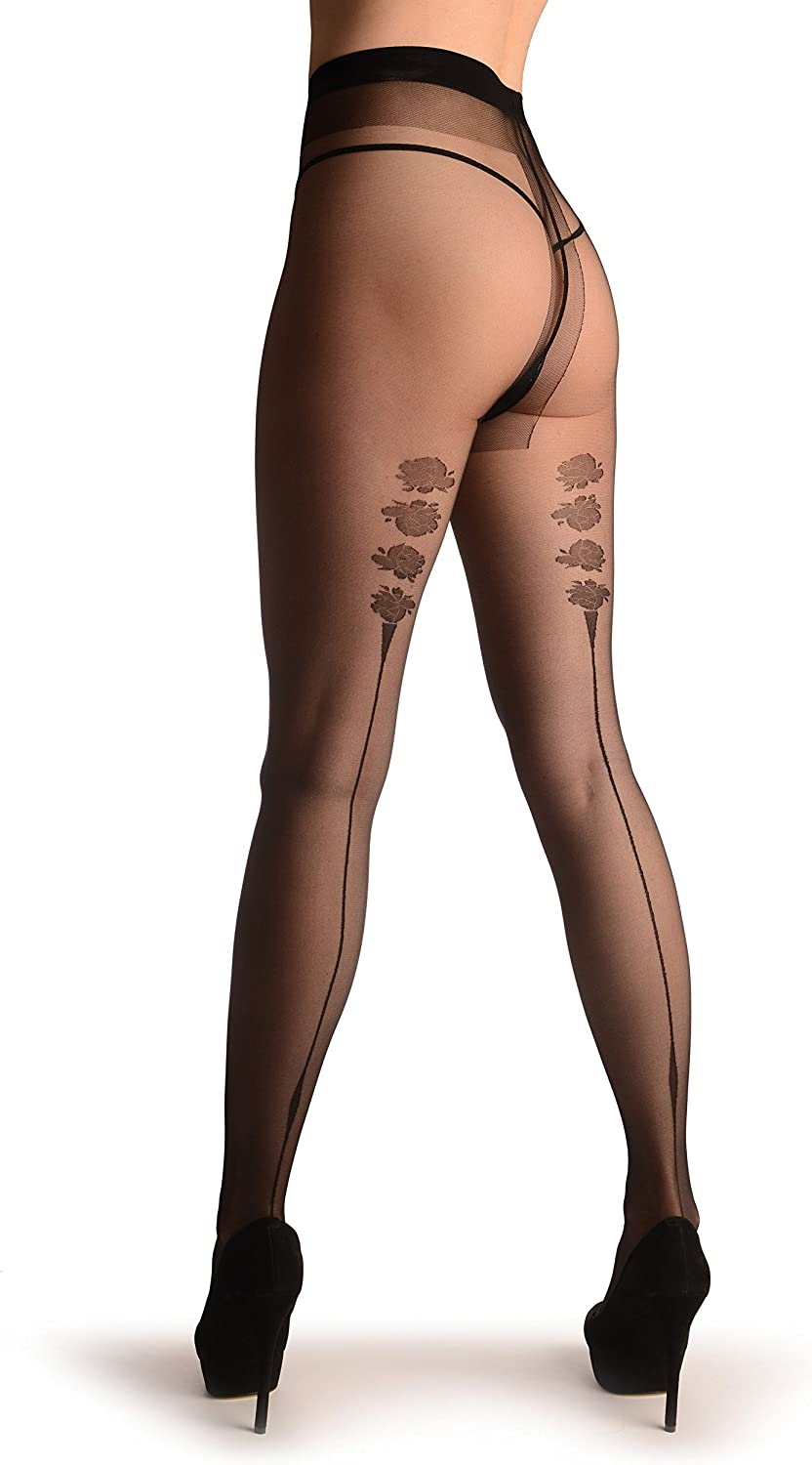 Black With Seam & Roses - Pantyhose (Tights)