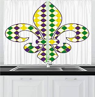 Ambesonne Mardi Gras Kitchen Curtains, Fleur De Lis with Traditional Festival Pattern Venetian Vintage, Window Drapes 2 Panel Set for Kitchen Cafe Decor, 55