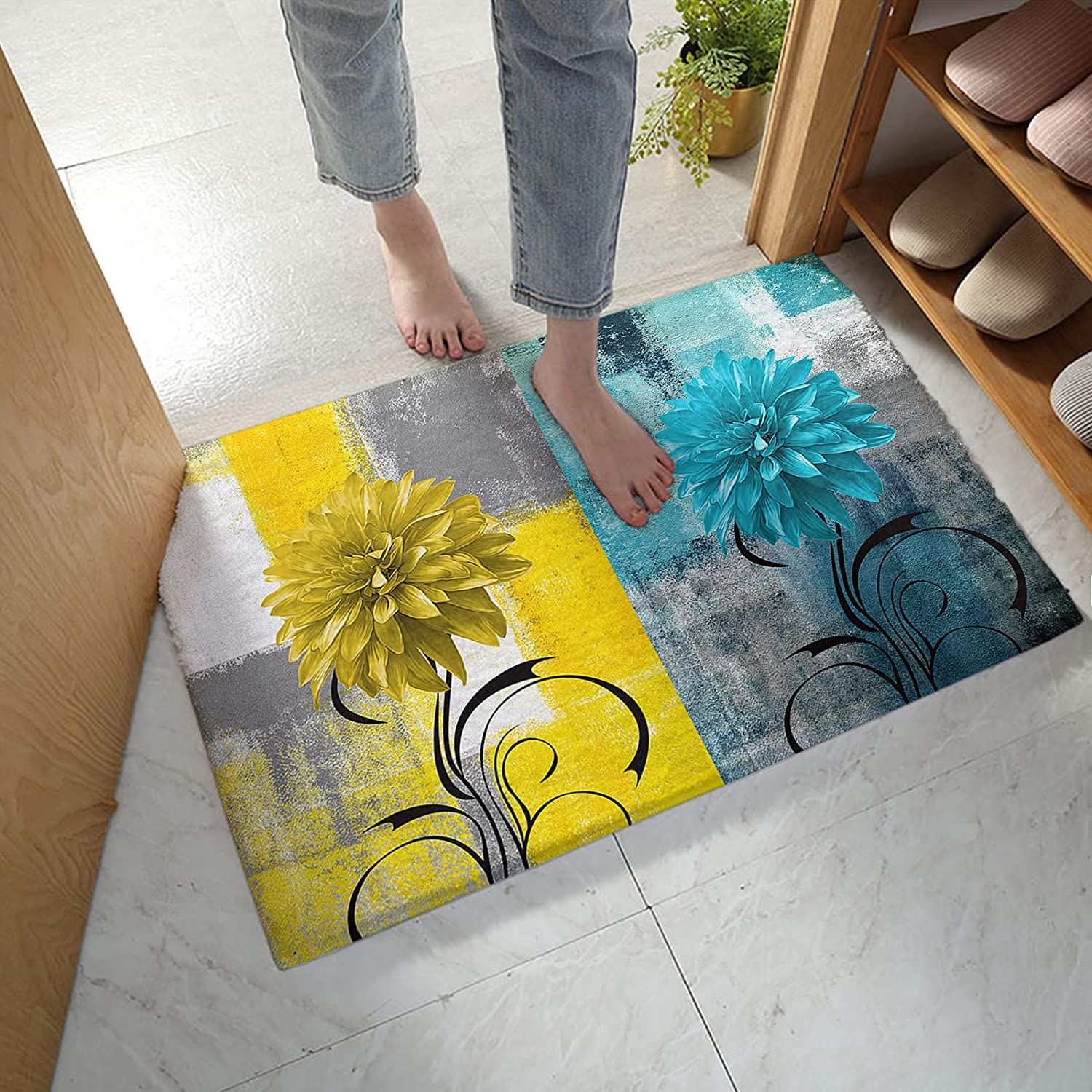 LBHAUSE Limited price sale Bathroom Rugs Soft Los Angeles Mall Plush Bath Colorful Mat Dah Blooming