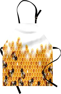 Lunarable Nature Apron, Honey Bees Wax Abstract Insect of Spring Season Artwork Image, Unisex Kitchen Bib with Adjustable Neck for Cooking Gardening, Adult Size, Marigold Apricot