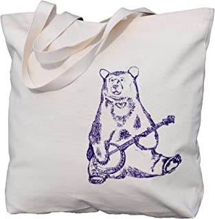 Canvas Tote Bag - Reusable Washable - Beach Travel Market Shoulder - Purple Banjo Bear