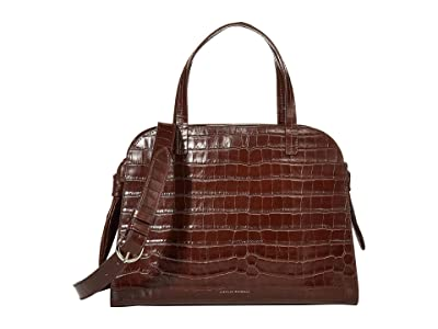 Loeffler Randall Clarice Satchel (Dark Brown) Handbags