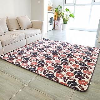 カーペットラグマット 厚さ約10mm洗えるラグ北欧洗えるラグフランネルラグ 洗濯可防ダニ抗菌防カビ防臭 防音冷房 床暖房対応,一年中使えます、メッシュ状です (赤茶色, 130x190CM)