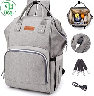 Large Capacity Diaper Backpack Diaper Bag with USB Charging Port, Multi-Function Travel Backpack Baby Nursing Bag Mommy Bag, Waterproof Baby Nappy Bag with Anti-Theft Pocket, Include 2 Stroller Straps
