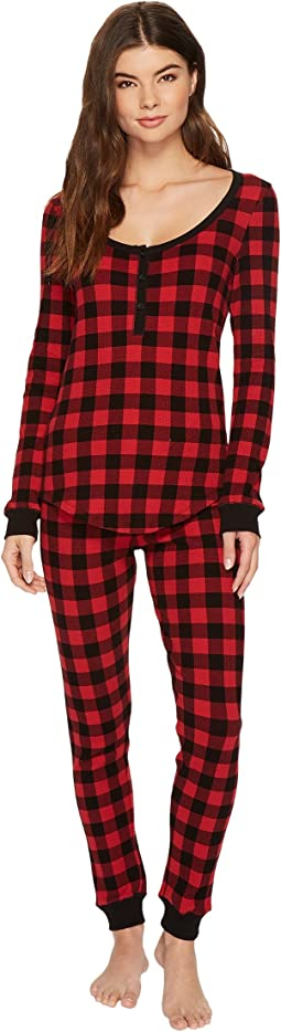 Plush - Thermal Buffalo Plaid PJ Set