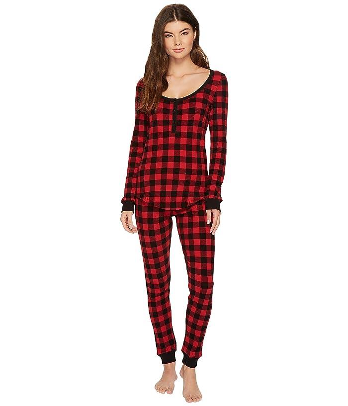 Plush Thermal Buffalo Plaid PJ Set (Red/Black) Women