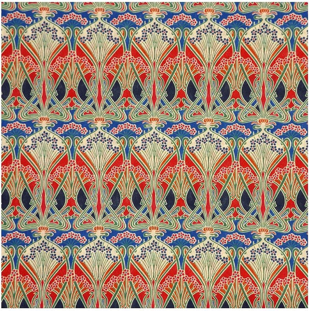 Red & Blue Nouveau Print 'Ianthe' Liberty Lawn Cotton Handkerchief