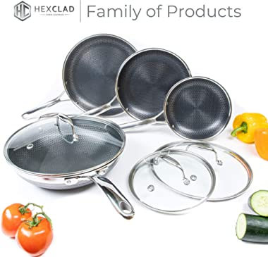 HexClad Hybrid 12-Inch Hybrid Stainless Steel Wok Pan with Stay-Cool Handle - PFOA Free, Dishwasher and Oven Safe, Non Stick,