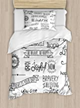 Ambesonne Adventure Duvet Cover Set, Various Words on Happiness and Self Value Uplifting Phrases Being Who You are, Decorative 2 Piece Bedding Set with 1 Pillow Sham, Twin Size, Black White