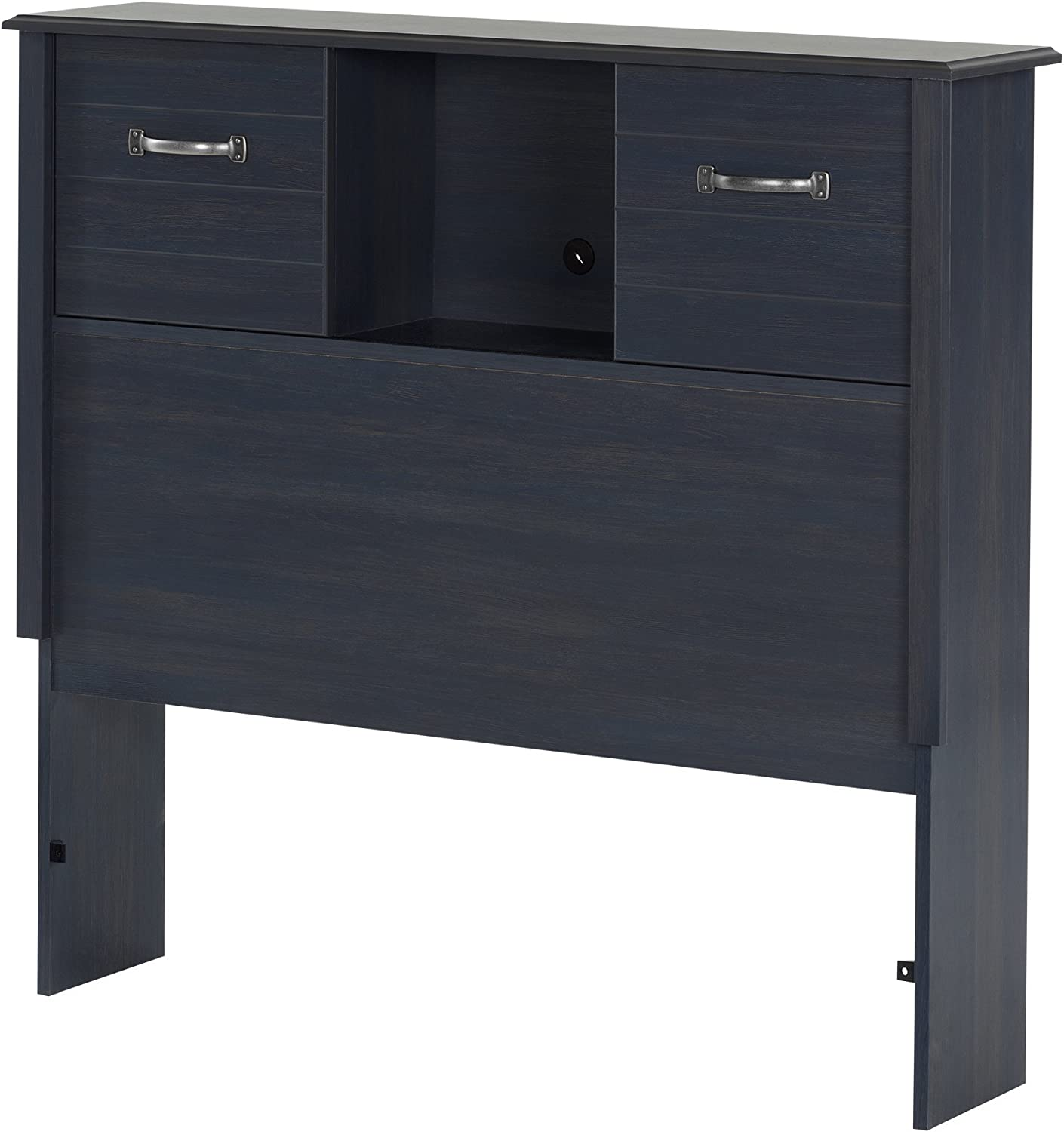 South Shore Furniture Ulysses Twin Bookcase Headboard (39-Inches) with Sliding Doors, blueeberry