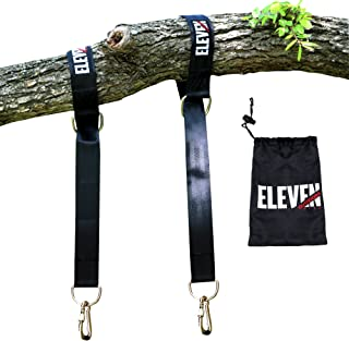 Outdoors with Eleven -Tree Swing Hammock Hanging Strap Kit - Two 4' Straps Safety Twist Lock Carabiners - Holds 2,000 lbs