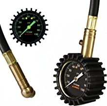 """Summit Tools Heavy Duty Tire Pressure Gauge with Hold Valve (0-100 PSI) – ANSI B40.1 Certified Accuracy with Large 2"""" Glow Dial for Car, Truck, Bike, Motorcycle, RV and More"""