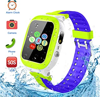 Kids Smartwatch Waterproof with LBS Tracker HD Touch Screen Smart Watch Phone SOS Camera Games Recorder Alarm for Boys Gir...
