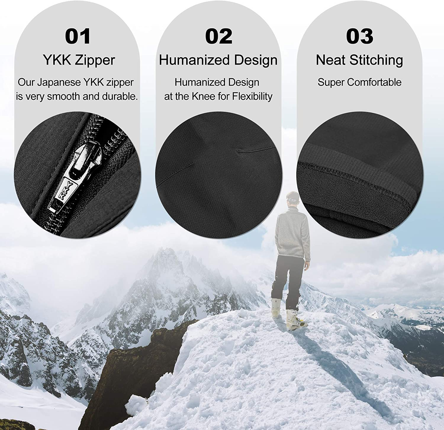 KUTOOK Fleece Lined Cargo Hiking Pants for Men Water Resistant Softshell Pants with 8 Pockets for Winter Sports