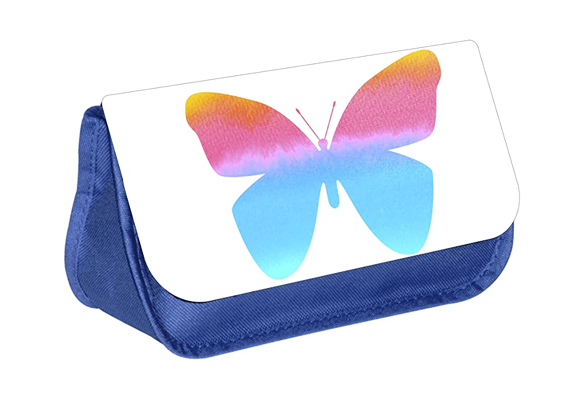 Butterfly - Girls Blue Pencil Case - Pencil Bag - with 2 Zippered Pockets and Nylon Lining