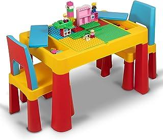 مجموعة مكعبات بناء وكرسي دراسة ليغو للأطفال من هوم كانفاس 2 في 1 مجموعة مكعبات بناء وطاولة وكرسي تعليم ليغو للأطفال من سن ...