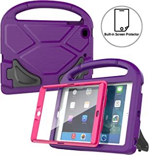 AVAWO Kids Case Built-in Screen Protector for iPad Mini 1 2 3 - Light Weight Shock Proof Handle Stand Kids for iPad Mini 1st Generation, iPad Mini 2nd Generation, iPad Mini 3rd Generation- Purple+Rose