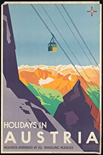 EzPosterPrints - Vintage Style Travel Poster Series- Poster Printing - Wall Art Print for Home Office Decor - HOLDAYS-in-Austria - 12X18 inches