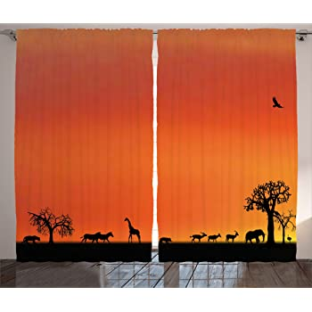 Amazon Com Ambesonne Africa Curtains Panorama Of Safari Animals Gulls Reflections In Background At Sunset Scenery Living Room Bedroom Window Drapes 2 Panel Set 108 X 90 Orange Black Home Kitchen