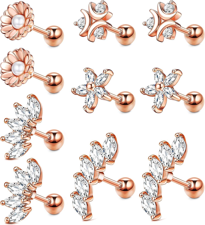 JOERICA Cartilage Earring Stud for Women 18G 16G Stainless Steel CZ Ear Conch Helix Tragus Piercing Jewelry