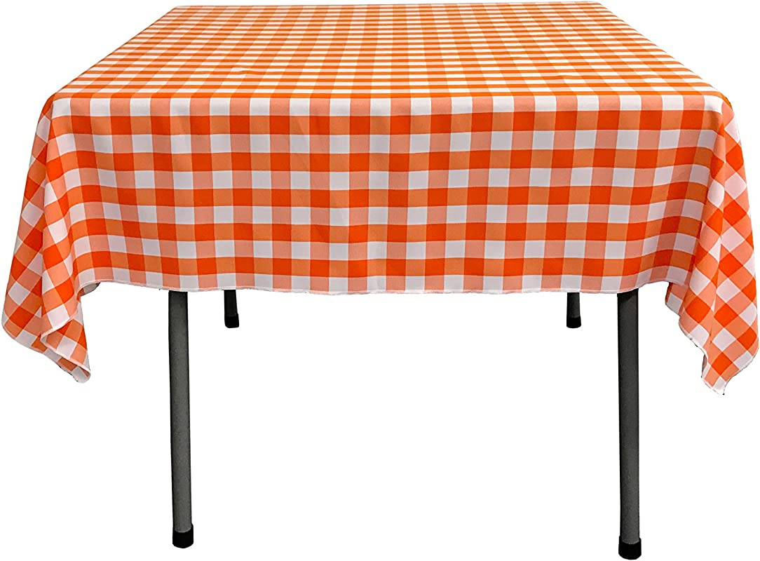 LA Linen Checkered Overlay Tablecloth 58 By 58 Inch Orange