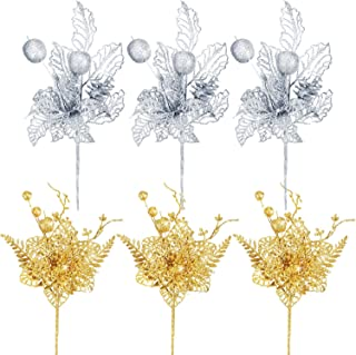 YoungJoy 6 Pieces Glitter Christmas Flower Picks with Artificial Poinsettia Pine and Berry Branches for Christmas Tree Ornament Home Decor Flower Arrangement (Glitter Gold and Silver B)