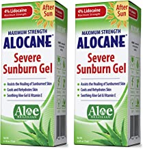 Alocane Severe Sunburn Gel, with Lidocaine, Vitamin E & Brazillian Aloe, Pain, Itch, After Sun Relief Help Soothe, Repair,...