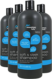 Mountain Falls Salon Formula Soft & Sleek Shampoo with Vitamin H & Silk Proteins for Dry or Damaged and Brittle Hair, 28 Fluid Ounce (Pack of 4)