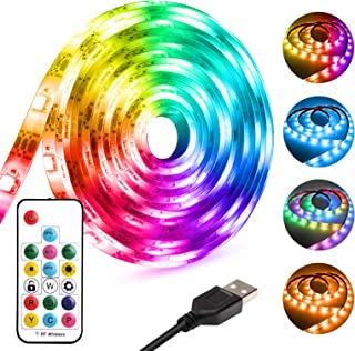 LED Strip Lights USB Powered 9.8FT Rainbow Color Waterproof RGB Dmeixs LED TV Backlight with RF Remote Control Chasing Fle...