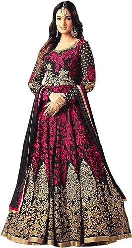 Fast Fashions Women's Semi Stitched Taffeta Silk Anarkali Gown (Free Size_Pink&Green)