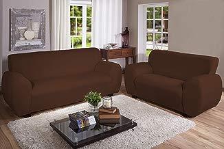 Capa Para Sofa 2 Lug Malha Gel Marrom Arte Cazza Tabaco