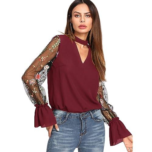 65690acff0a6 Verdusa Women s Floral Embroidered Mesh Sleeve Choker Neck Blouse