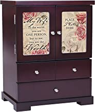 Cottage Garden My Wife to Me You are The World 12 x 10 Cherry Wood Finish Jewelry Armoire