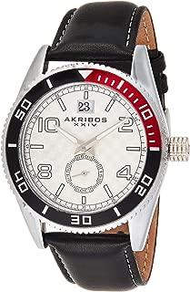 Akribos Xxiv Men's Silver Dial Leather Band Watch - Ak859Ss, Analog Display, Japanese Quartz Movement