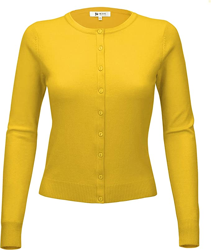 1940s Teenage Fashion: Girls YEMAK Womens Long Sleeve Crewneck Button Down Casual Cardigan Sweater $15.95 AT vintagedancer.com