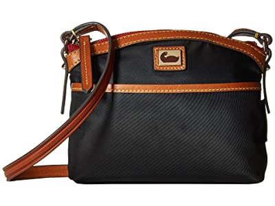 Dooney & Bourke Camden Domed Crossbody (Black/Dark Chocolate Trim) Cross Body Handbags