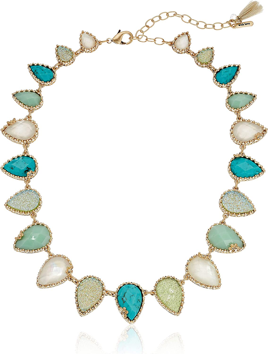 Lonna & Lilly Women's 16 Inch Stone Collar Gold Necklace, Blue