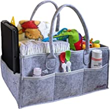 Baby Diaper Caddy Organizer by thatfitz - Large Capacity Gray Felt Bag with Water Resistant Vinyl Lining - Foldable Tote Carrier for Boys or Girls - Portable Storage for Changing Table and Car