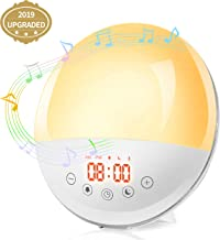 Wake Up Light Sunrise Alarm Clock Radio with Sunset Simulation ,Snooze Function ,FM Radio, Bedside Night Light ,8 Natural Sounds, 30 Adjustment Brightness Kids Adults Bedroom