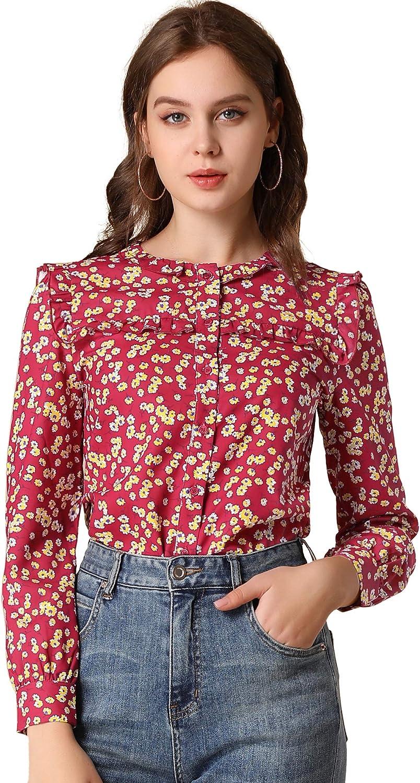 Allegra K Women's Ruffled Blouse Round Neck Long Sleeve Button Down Floral Shirt Top