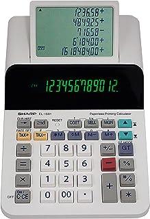 Sharp El-1501 Compact Cordless Paperless Large 12-Digit Display Desktop Printing Calculator That Utilizes Printing Calcula...
