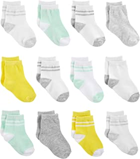 Simple Joys by Carter's Baby 12-Pack Socks, Yellow/Grey/Mint, 0-3 Months