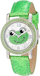 Frenzy Kids' FR465 Green Glitter Strap Frog Watch